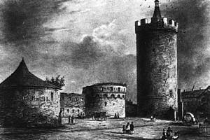 Widok na Bramę Ostrowską z 1830 roku